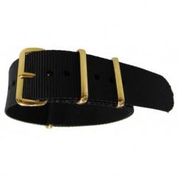 NATO Strap 20mm black gold buckle