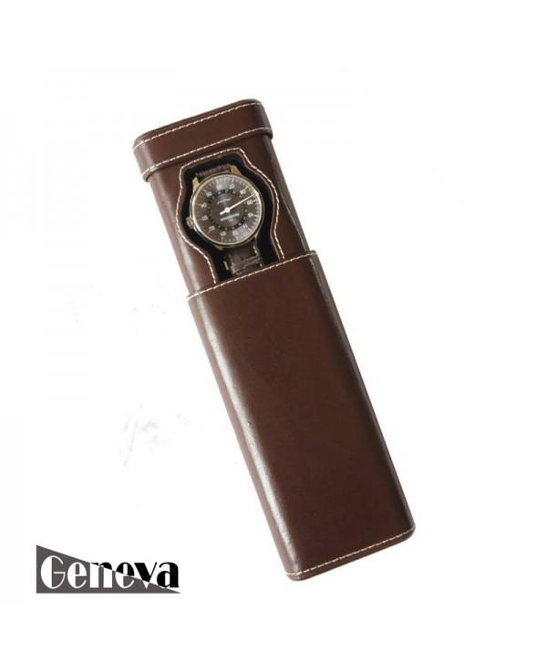 Watch slip-case dark brown leather for one watch