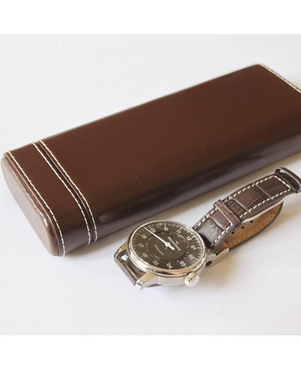 Watchstrap Hirsch Liberty dark brown 20mm white stiches