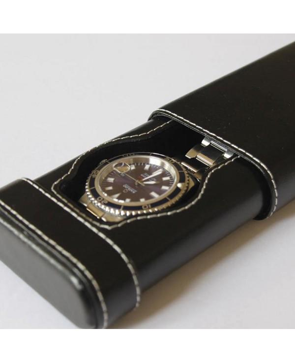 Watchstrap Hirsch Liberty black 18mm white stiches