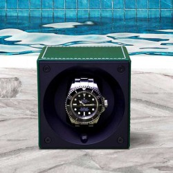 Watchwinder Swiss Kubik Single Green Leather with front glass