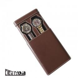 Etui cuir marron 2 montres XL Geneva
