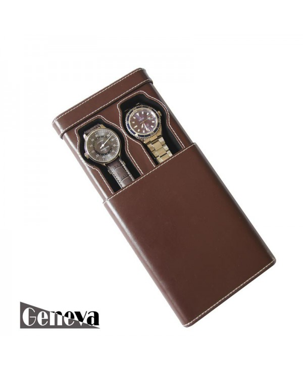 Double Watch slip-case brown leather for two watch