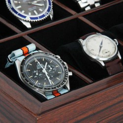Watchbox MAKASSAR Style glasstop for 10 watches