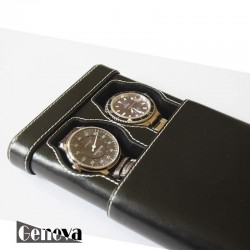 Two Watch slip-case black leather for two watch