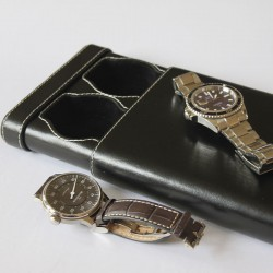 Double Watch slip-case black leather for two watch