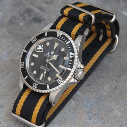 NATO Strap Black 2 yellow lines vintage 20mm