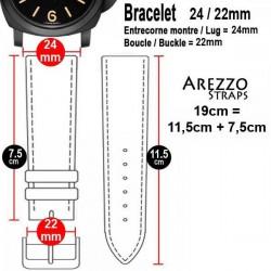 Watchstrap Arezzo MILITARE 24mm Dark Brown