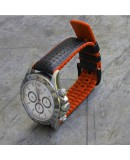 Watchstrap Hirsch AYRTON orange 20mm and Carbone Leather