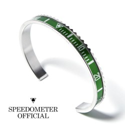 Speedometer Official Green and Polished Steel
