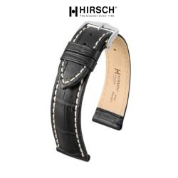 Watchstrap Hirsch Modena Black 20mm white stiches