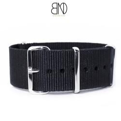 Bracelet de montre NATO 22mm noir nylon