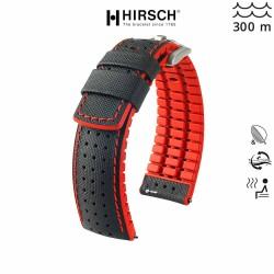 Bracelet Hirsch ROBBY Caoutchouc Rouge 22mm Cuir Noir