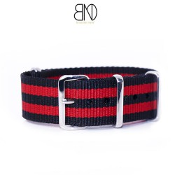NATO Strap 20mm James Bond Black Red