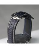 Watchstrap Hirsch Carbon Blue 20mm white stich