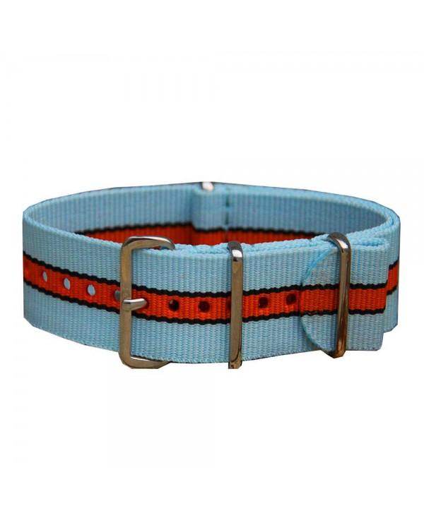 Bracelet de montre NATO 20mm GULF bleu orange