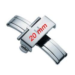 Boucle déployante 20mm Pusher inox poli hypoallergénique HIRSCH