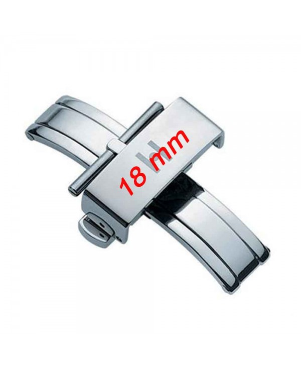 Boucle déployante 18mm Pusher inox poli hypoallergénique HIRSCH