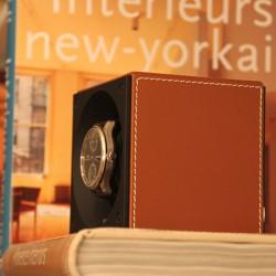 Watchwinder Swiss Kubik Single Brown Leather white stiches