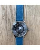 bracelet montre cuir de veau bleu 20mm