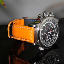 Watchstrap Hirsch Carbon Orange 22mm