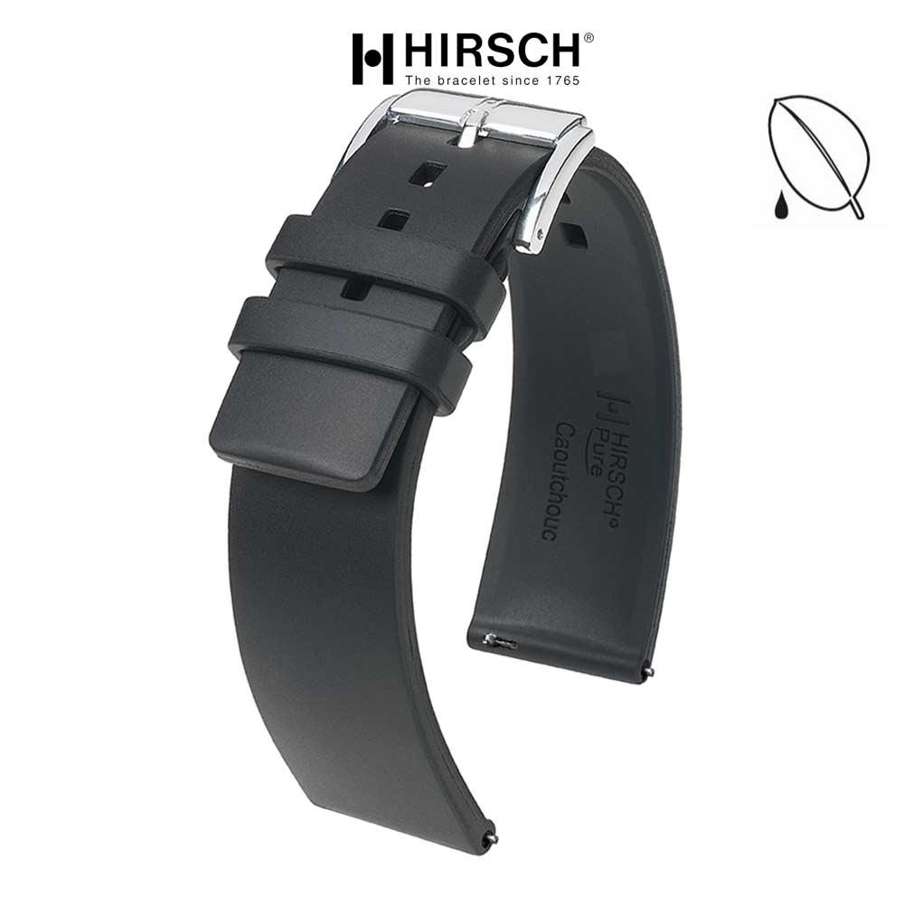 bracelet hirsch pure noir caoutchouc