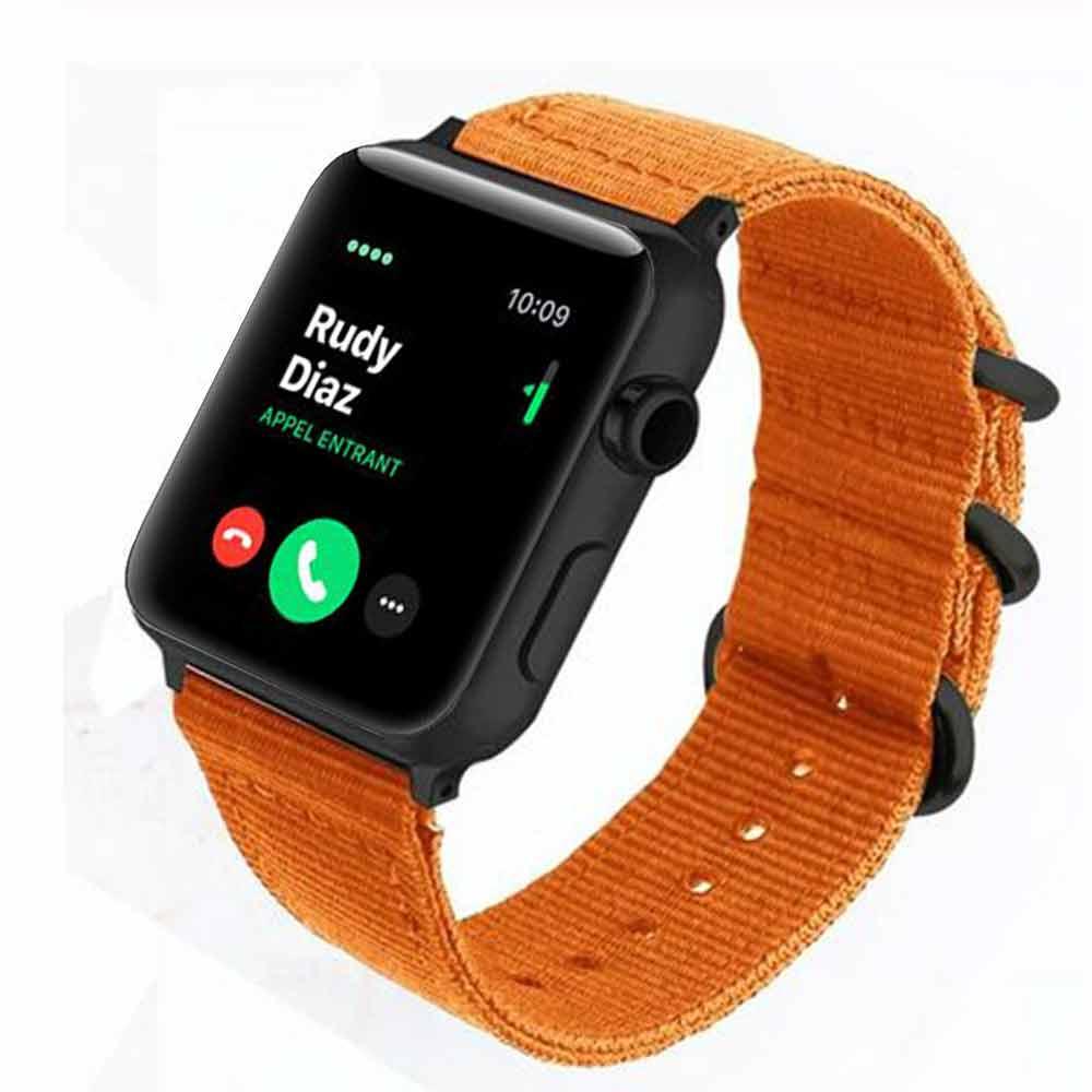 bracelet nato orange pour montre connectée